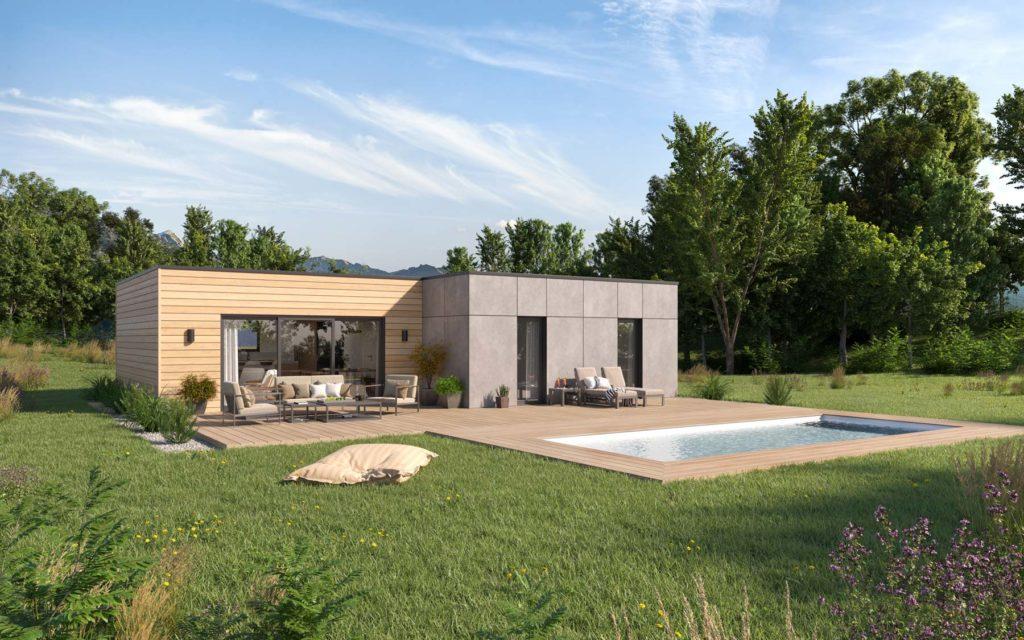 Modèle maison toit plat extérieur
